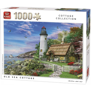 This 1000 Piece Jigsaw features a scene of Old Sea Cottage with Lighthouse