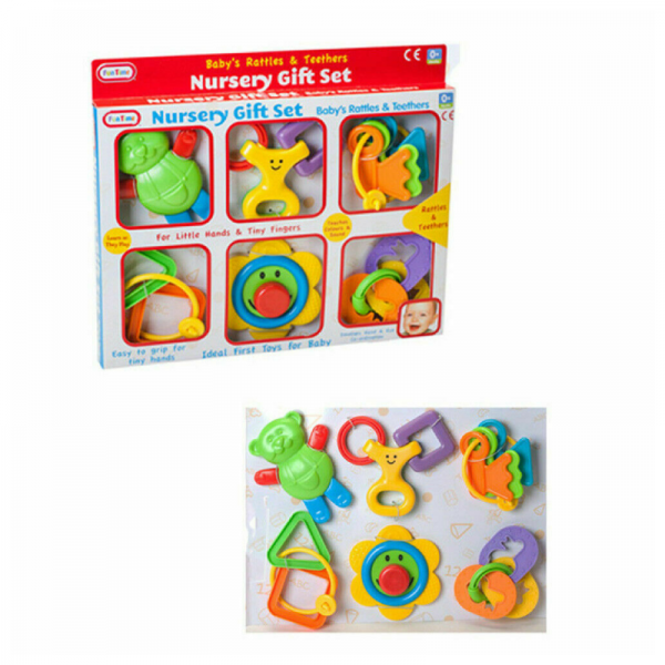 6pcs Nursery Gift Rattle Set