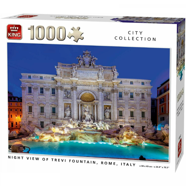 Night View of Trevi Fountain Rome Italy Jigsaw Puzzle